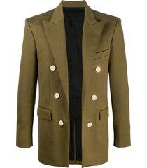 balmain jersey long-sleeve blazer - green