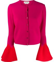 alexander mcqueen flared-cuff button-down cardigan - pink