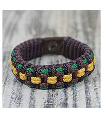 men's wristband bracelet, 'brown ananse web' (ghana)