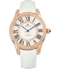 empress xenia automatic white leather watch 35mm