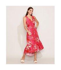 vestido chemise feminino midi estampado floral com babado alça larga decote v vermelho