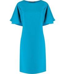 alberta ferretti ruffled sleeve shift dress - blue