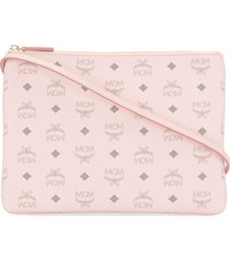 mcm klassik monogram-print crossbody pouch - pink