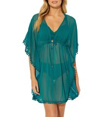 women's bleu by rod beattie pom trim cover-up caftan, size large - green