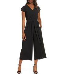 women's eliza j faux wrap crop jumpsuit, size 4 - black