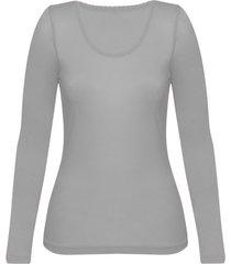 enna, biologisch zijden shirt met lange mouwen, platinum 40/42