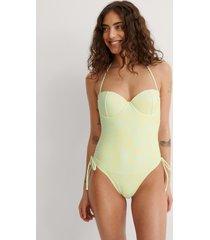 na-kd swimwear baddräkt med snören i sidan - yellow