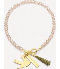 bransoletka be free złocona z beżowymi kryształami i jaskółką