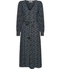 loraligz v-neck dress so21 jurk knielengte blauw gestuz