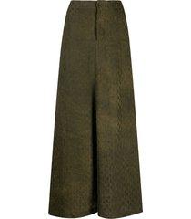 uma wang embossed velvet a-line skirt - brown
