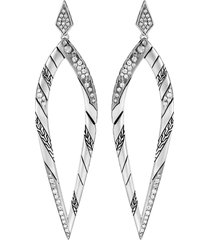 'lahar' diamond silver drop earrings