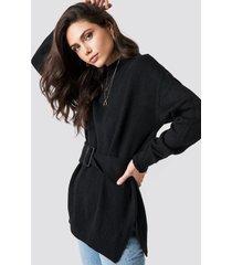 trendyol belted waist round neck jumper - black