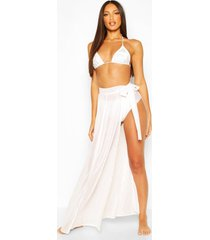 diamante tie beach sarong, white