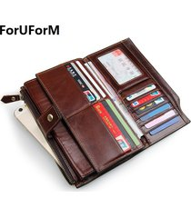 new long purses for men genuine leather men wallets with multi card holders brow