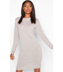 tall crew neck long sleeve dress, silver