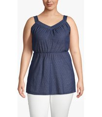 lane bryant women's textured cinched-waist tunic 28 navy dots