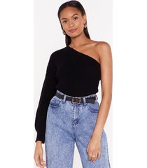womens my one and only one shoulder sweater - black