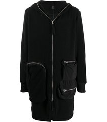 thom krom mid-length zip-up hoodie - black