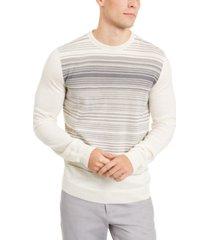alfani men's merino blend stripe crewneck sweater, created for macy's