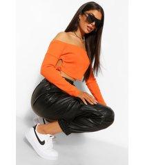 geribbelde strapless crop top, orange