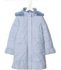 familiar faux-fur hooded parka coat - blue