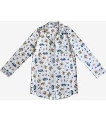 disney pooh friends notched collar button down women's sleep shirt