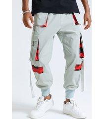 cinta de empalme de camuflaje informal para hombre carga pantalones