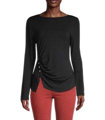 lea & viola women's front shirred top - black - size xs