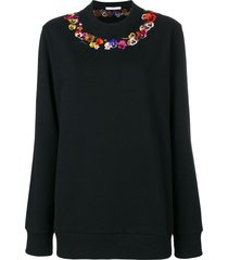 givenchy poppy embroidered sweatshirt - black
