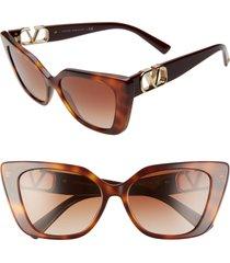 valentino vlogo 56mm gradient cat eye sunglasses in brown havana/brown grad at nordstrom