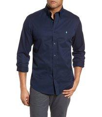 men's nordstrom men's shop smartcare(tm) traditional fit twill boat shirt, size small - blue