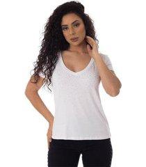 t-shirts daniela cristina gola v profundo 10273 2 branco - branco - pp - feminino