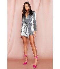 metallic asymmetrische blazer, zilver