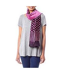 cotton and silk blend batik scarf, 'polka dot fever' (india)
