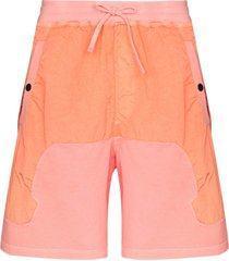 stone island shadow project fleece track shorts - pink