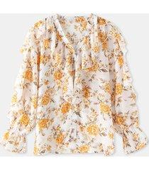 camicetta casual da donna a maniche lunghe in chiffon con scollo a v con stampa floreale