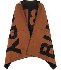 burberry hooded wool cape coat