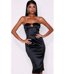 diamante strap bodice stretch satin midi dress, black