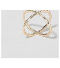anel feminino em x texturizado dourado
