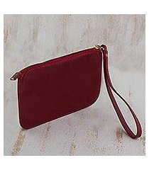 leather wristlet, 'trendy fashion in cherry' (brazil)