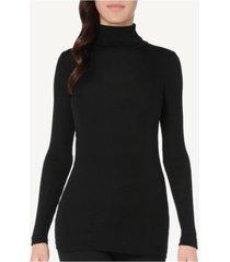 blusa manga comprida em lã e seda gola alta intimissimi lã e seda preto