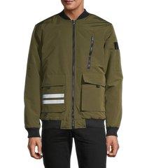american stitch men's zip bomber jacket - khaki - size l