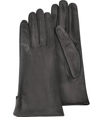 forzieri designer women's gloves, women's black calf leather gloves w/ silk lining