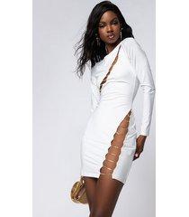 akira milky way long sleeve chain detail mini dress