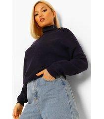 petite oversized gebreide trui met knopen en hoge kraag, blue