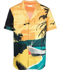 balmain beach-print cotton shirt - yellow