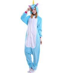 pijama diluxo macacão unicórnio azul - kanui