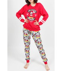 pyjama's / nachthemden admas homewear pyjama broek mickey basic rood