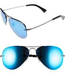 ray-ban highstreet 59mm semi rimless aviator sunglasses - blue/ green mirror
