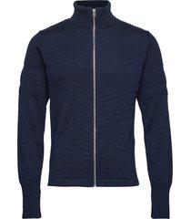 100% wool klemens zip gebreide trui cardigan blauw mads nørgaard